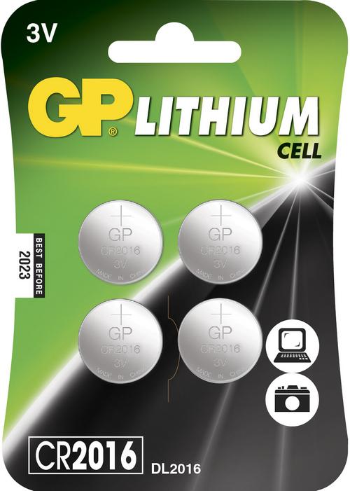 Image of 4 stk. CR 2016 3 Volt Lithium batteri