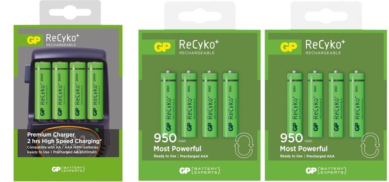 STARTPAKKE/M 4 stk. genopl. AA batterier + 8 stk. genopl. AAA batterier