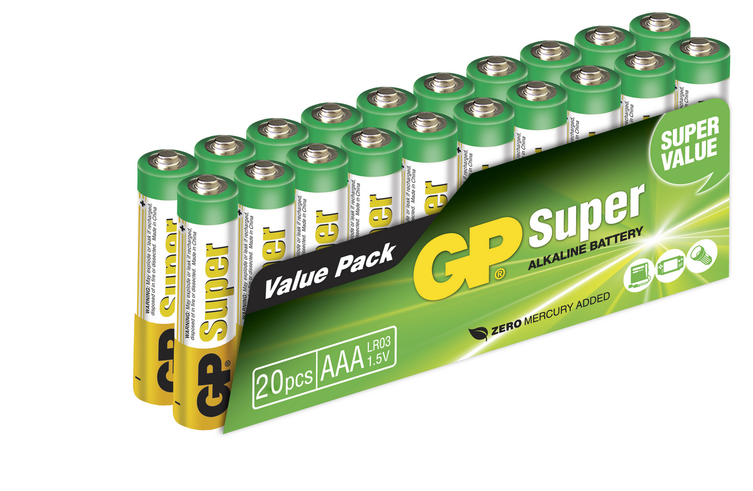 Image of   20 stk. GP AAA Super Alkaline batterier / LR03
