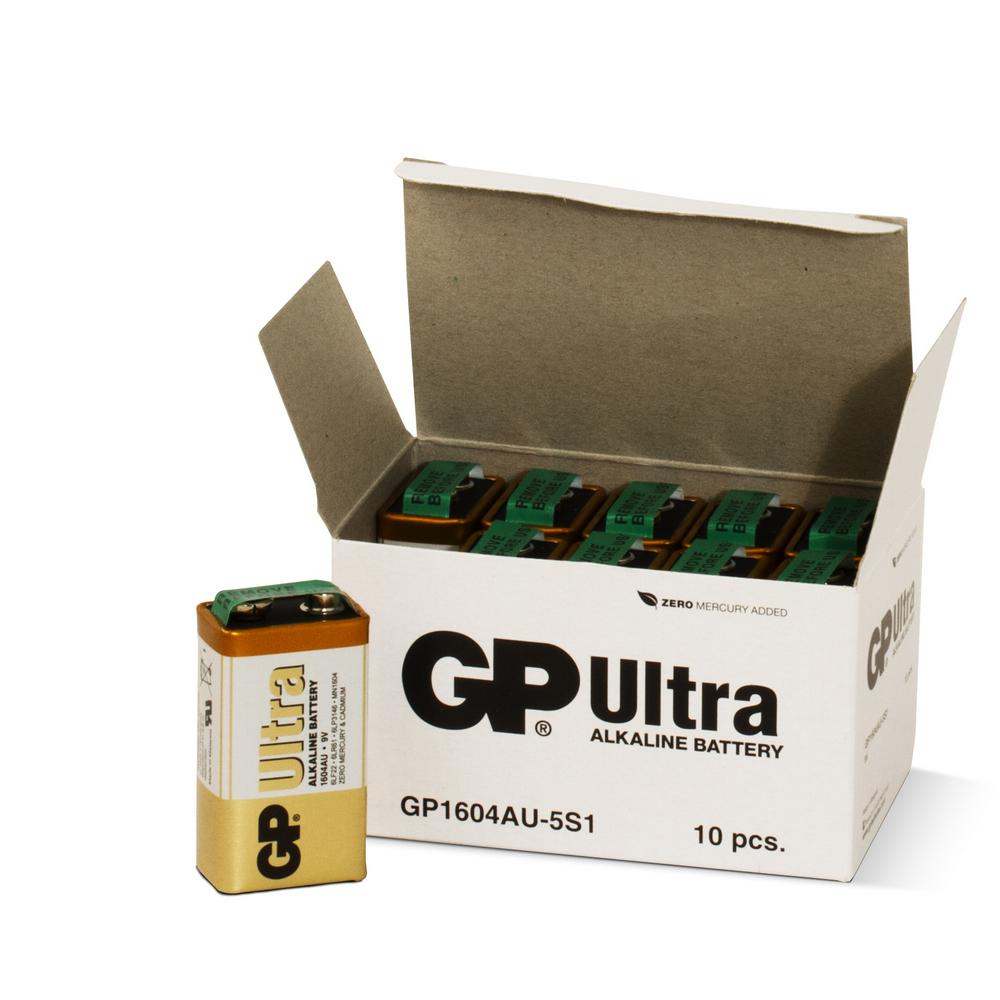 Image of   10 stk. GP 9V Ultra Alkaline batterier