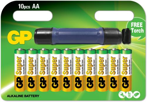 Billede af Kampagnepakke med 10 stk. AA batterier + Lommelygte