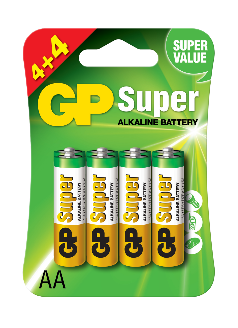 Image of   8 stk. GP AA Super Alkaline batterier