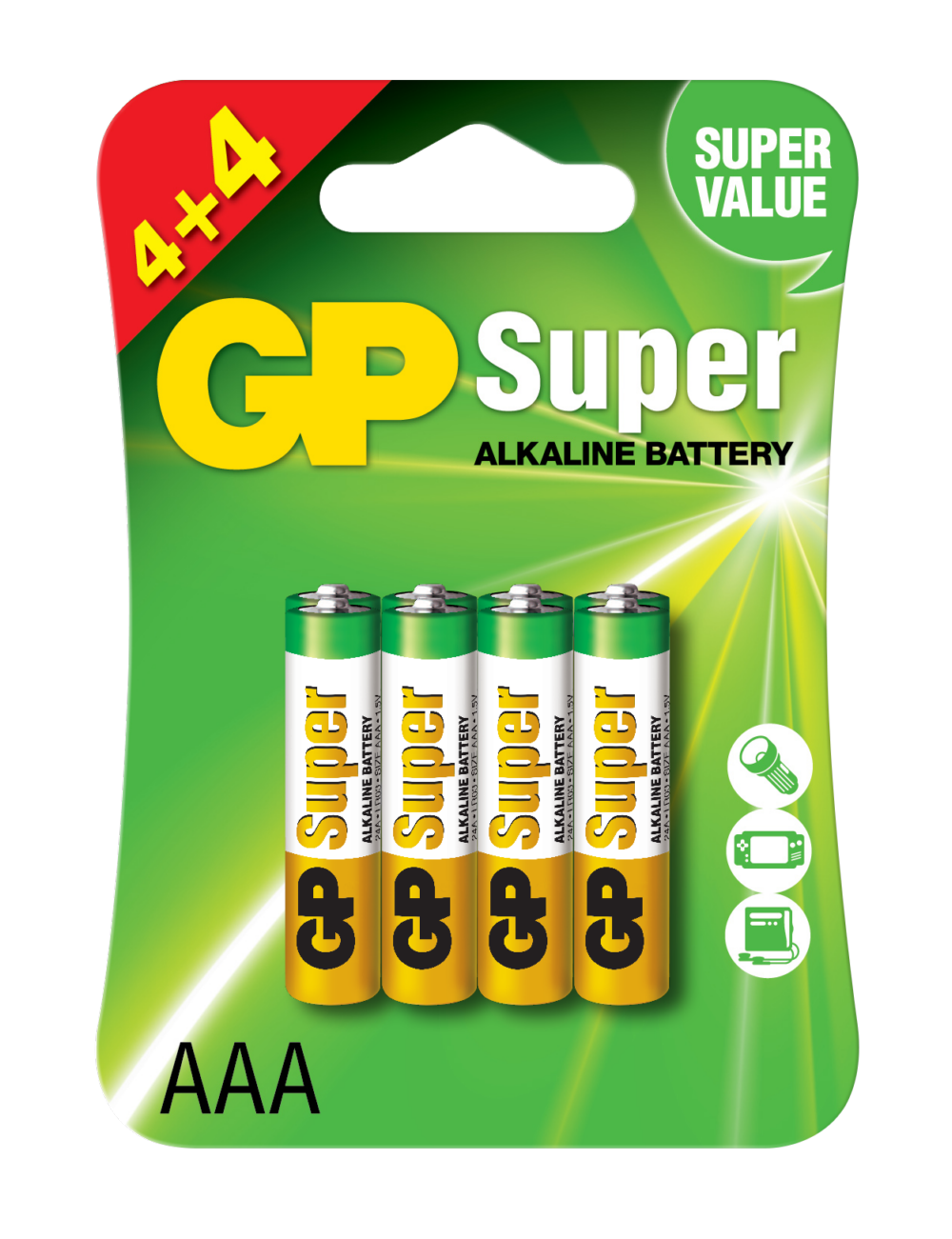 Image of   8 stk. GP AAA Super Alkaline batterier