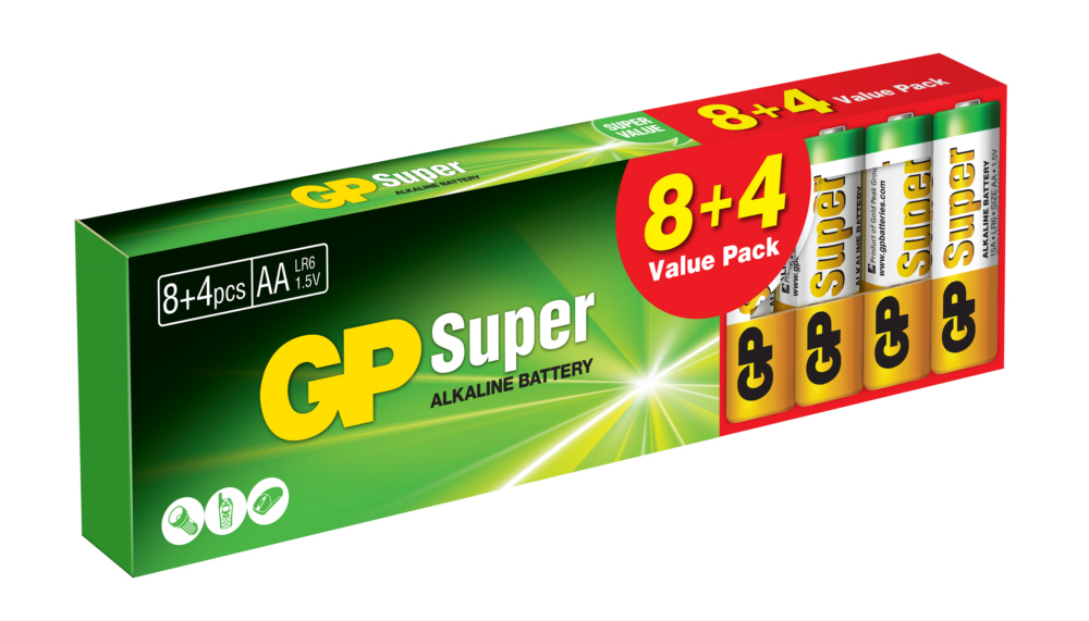 Image of   12 stk. GP AA Super Alkaline batterier