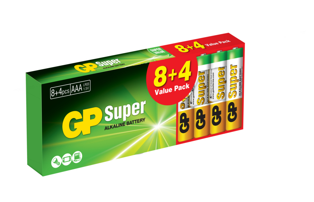 Image of   12 stk. GP AAA Super Alkaline batterier