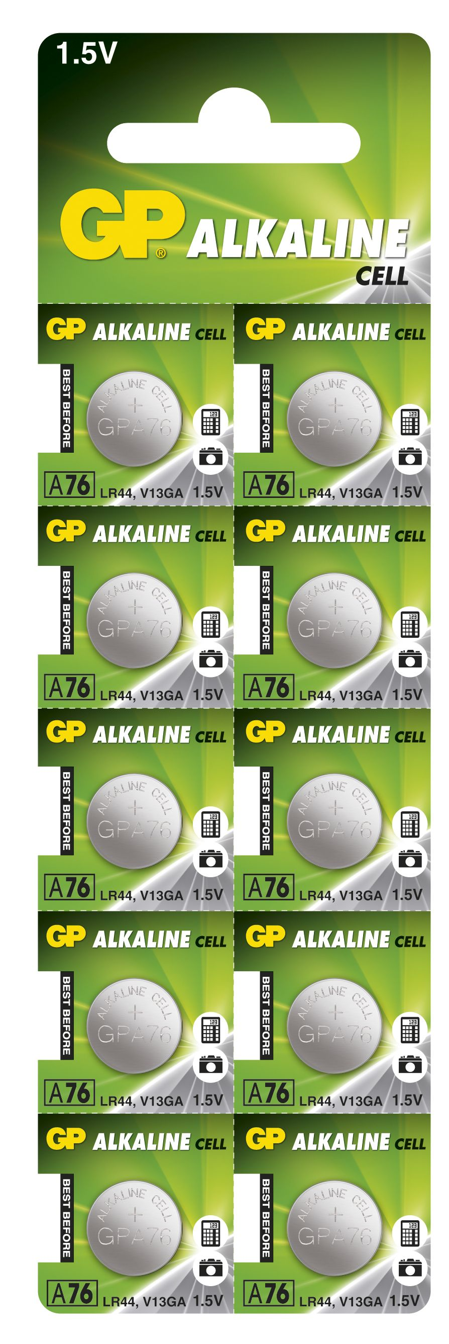 Image of 10 stk. GP A76 / LR44 / LR1154 / AG13 Alkaline batteri