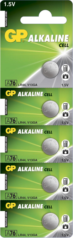 5 stk. GP A76 / LR44 / LR1154 / AG13 Alkaline batteri