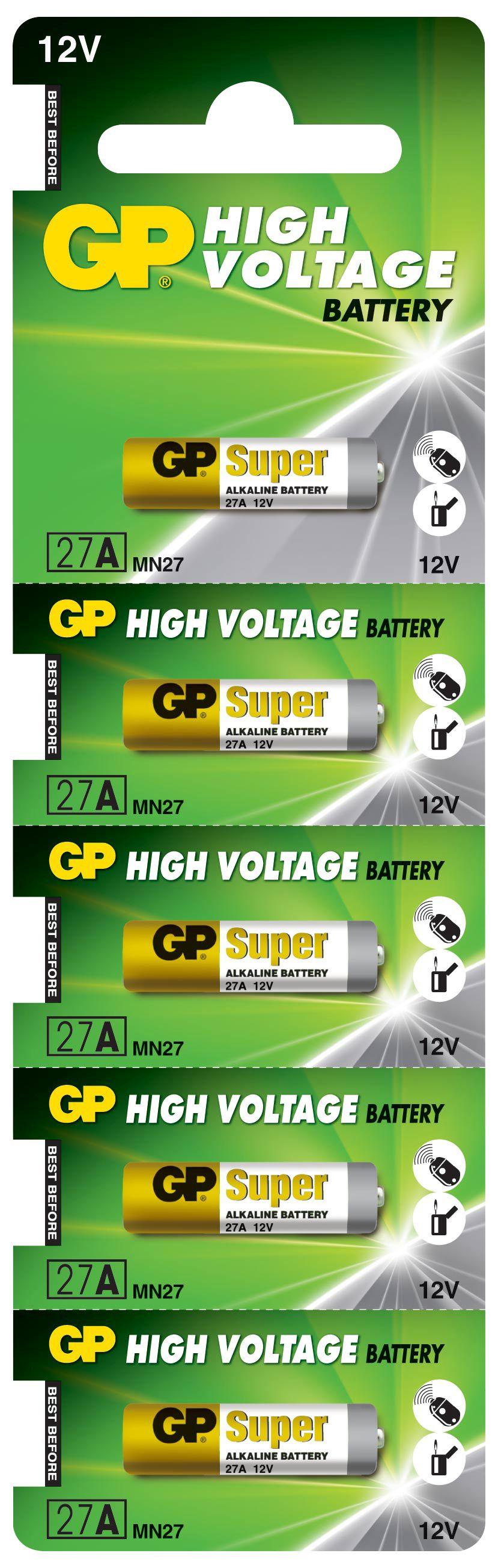 Image of   5 stk. GP 27A 12 volt Alkaline batteri