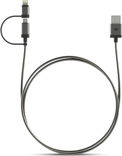 Image of   2-i-1 USB kabel med både Apple Lightning og Micro-USB tilslutning. 1 meter