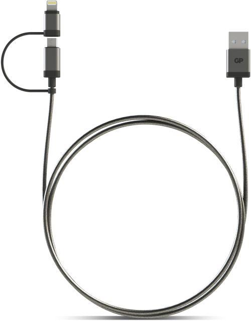 Billede af 2-i-1 USB kabel med både Apple Lightning og Micro-USB tilslutning. 1 meter