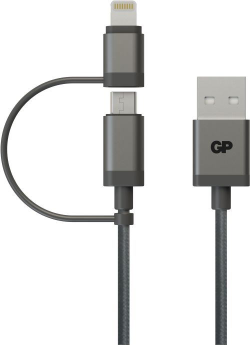Image of 2-i-1 USB kabel med både Apple Lightning og Micro-USB tilslutning 15cm
