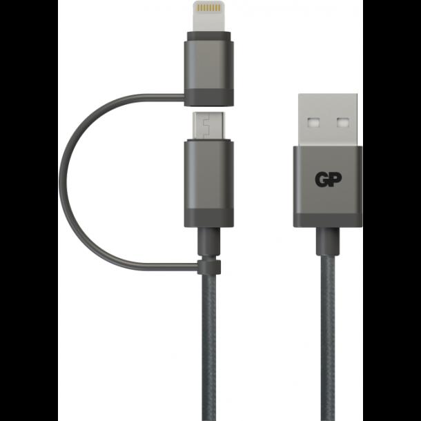2-i-1 USB kabel med både Apple Lightning og Micro-USB tilslutning 15cm