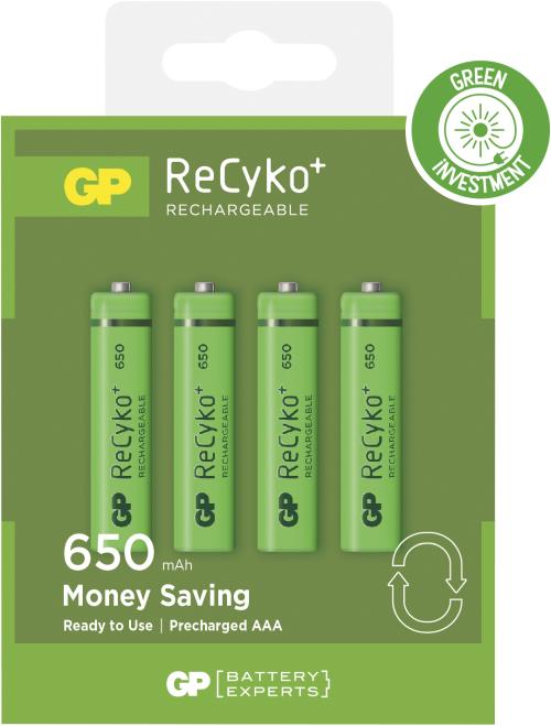 Genopladelige AAA Recyko batterier / LR03 650mAh