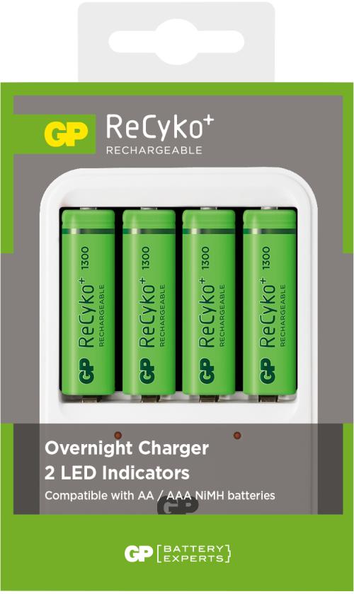 Billede af GP Recyko oplader inkl. 4 genopladelige batterier på 1.300mAh