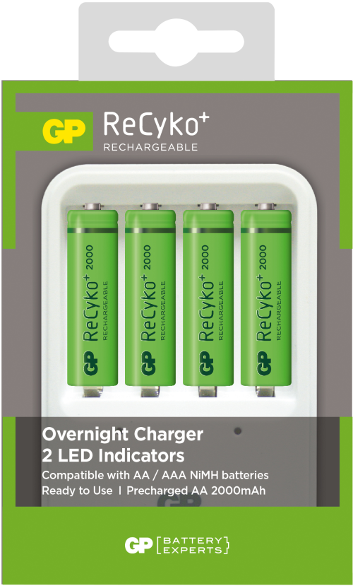 Billede af GP Recyko oplader inkl. 4 genopladelige batterier på 2.000mAh