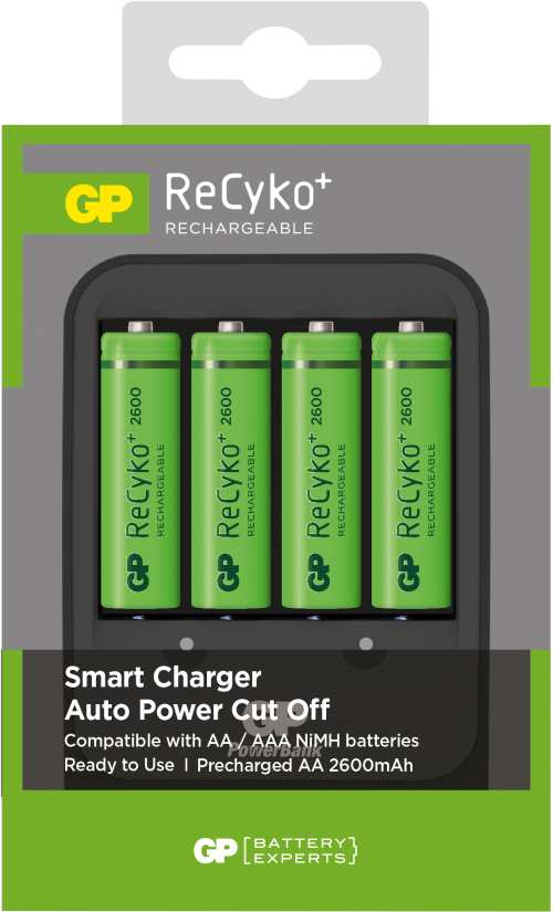 Billede af GP Recyko oplader inkl. 4 genopladelige batterier på 2.600mAh