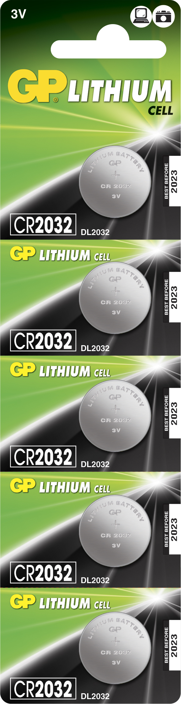 Image of   5 stk. CR2032 3 Volt Lithium batteri