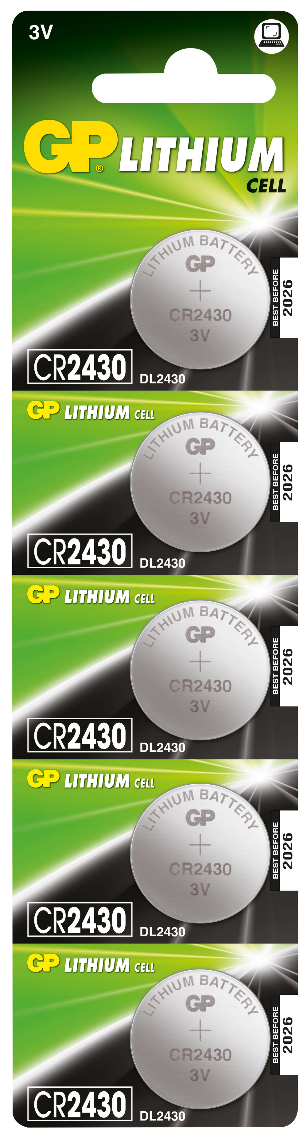 Image of   5 stk. CR 2430 3 Volt Lithium batteri