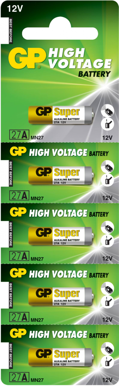 Billede af 5 stk. GP 27A 12 volt Alkaline batteri