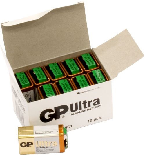 Image of   10 stk. GP 9V Ultra Alkaline batterier