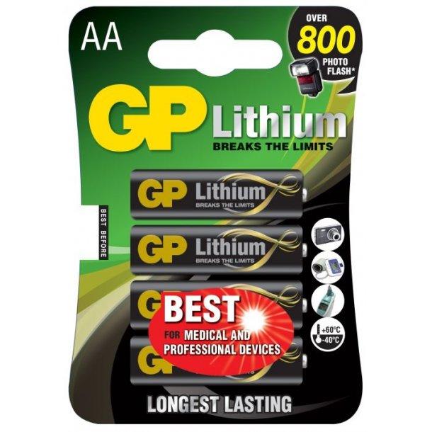 4 stk. GP Lithium AA 1,5 volt
