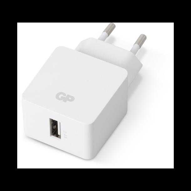Væglader med 1 USB udgang - 2,4A