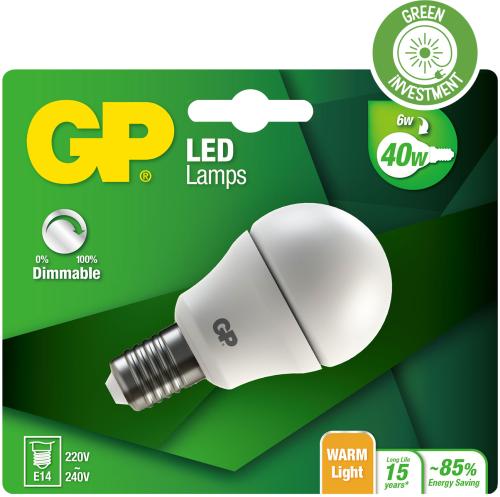 Mini Globe LED dæmpbar pære, 6W (40W), E14