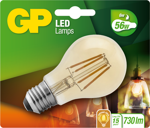 "Classic Filament LED Golden, 6W (56W), E27 ""glødetråd"""