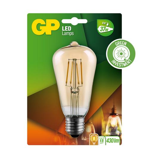 "Vintage Drop Filament dæmpbar LED pære, 4W (37W), E27 ""glødetråd"""
