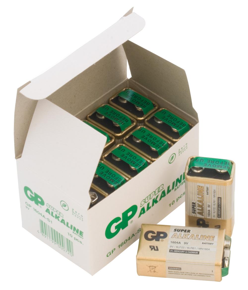 Image of 10 stk. GP 9V Super Alkaline batterier