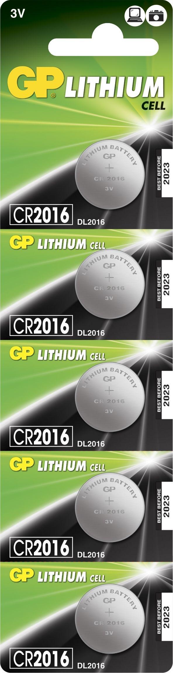 Billede af 5 stk. CR 2016 3 Volt Lithium batteri
