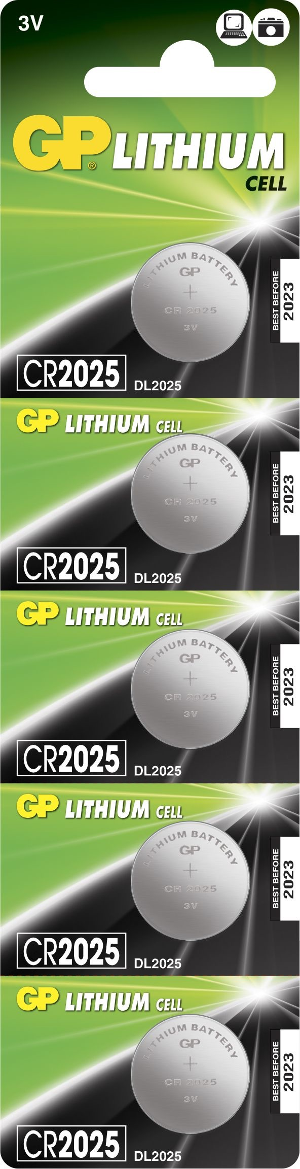 5 stk. CR 2025 3 Volt Lithium