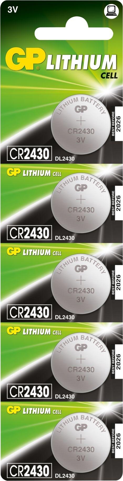 5 stk. CR 2430 3 Volt Lithium batteri