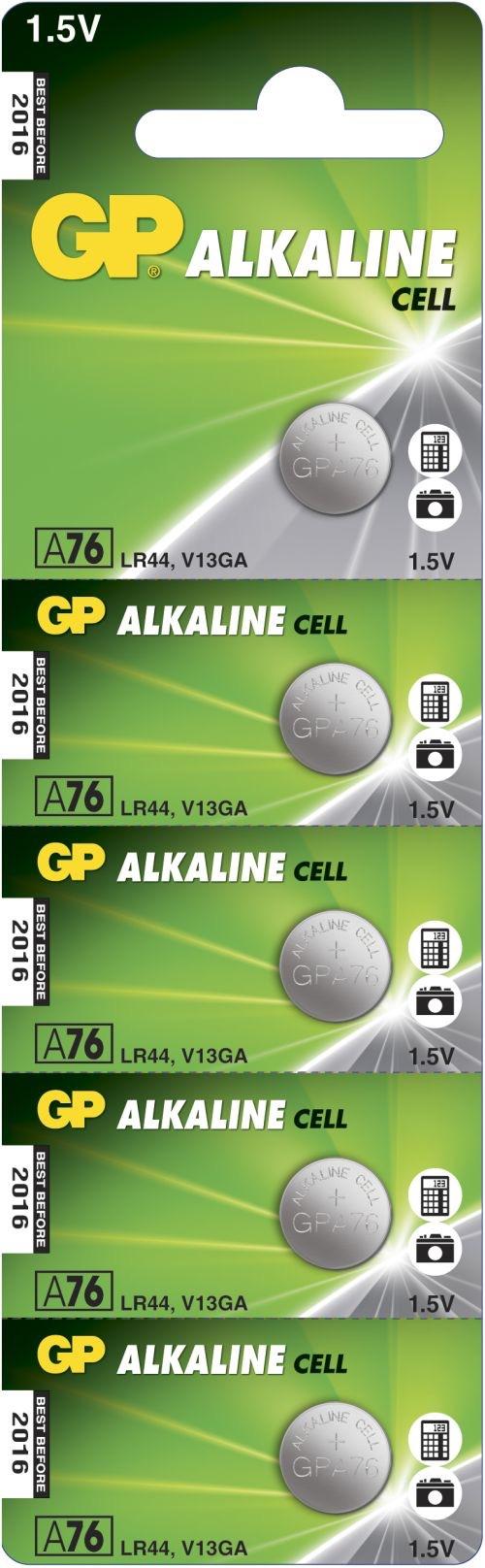 Billede af 5 stk. GP A76 / LR44 / LR1154 / AG13 Alkaline batteri
