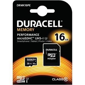 Image of   Duracell MicroSD og SD hukommelseskort 16GB
