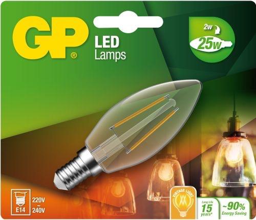 "Billede af Kertepære LED, 2W (25W), E14 ""glødetråd"""