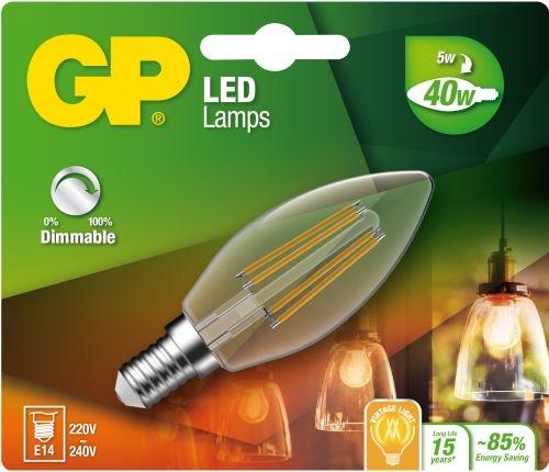 """Billede af Kertepære LED, 5W (40W), E14 """"glødetråd"""", Dæmpbar"""