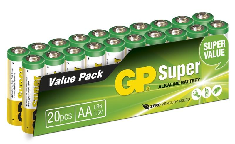 Billede af 20 stk. GP AA Super Alkaline / LR6 / R6