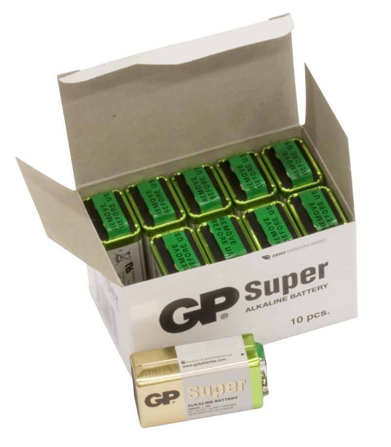 Billede af 10 stk. GP 9V Super Alkaline batterier