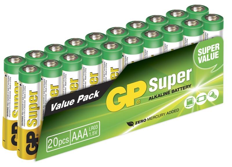 20 stk. GP AAA Super Alkaline batterier / LR03