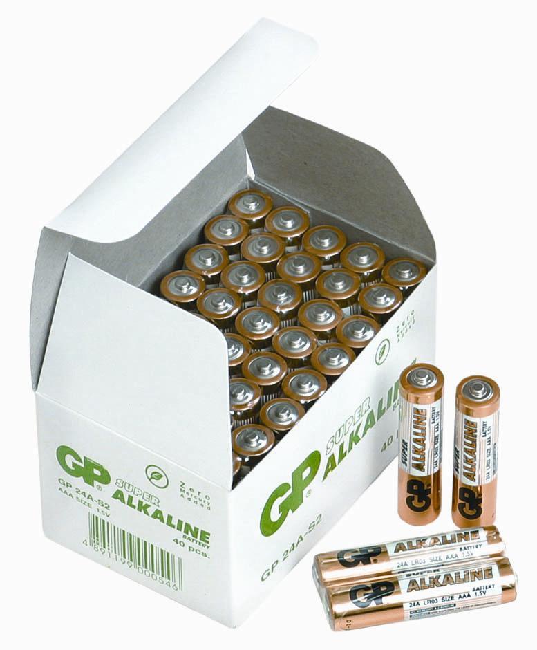 Image of   40 stk.GP AAA Super Alkaline batterier / LR03 PÅ LAGER IGEN UGE 11
