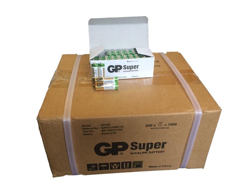 1.000 stk. AA GP Super Alkaline batterier / LR6 / R6