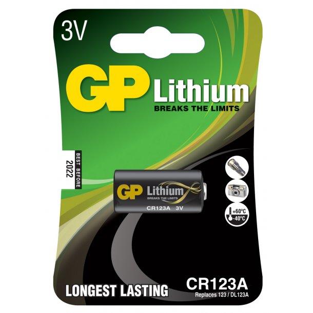 GP CR123A Lithium PRO batteri 3 Volt