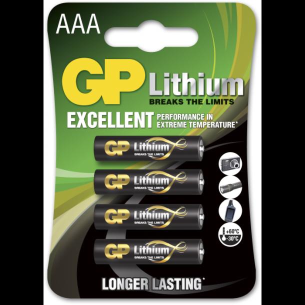4 stk. Lithium AAA 1,5 volt