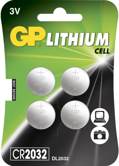 4 stk. CR2032 3 Volt Lithium batteri