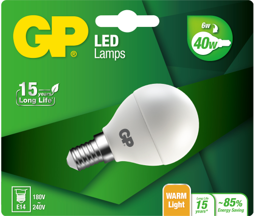 Mini Globe LED pære, 6W (40W), E14