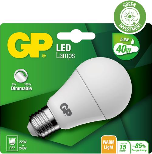 Classic LED dæmpbar pære, 5,8W (40W), E27